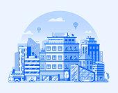 istock Modern City Metropolis Flat Illustration 1051623552