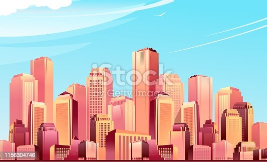 urban landscape of a futuristic city, in bright pink colors, against the background of daytime blue sky