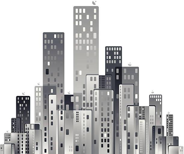 モダンな街のパノラマのベクトルイラスト。 - 都市 モノクロ点のイラスト素材/クリップアート素材/マンガ素材/アイコン素材