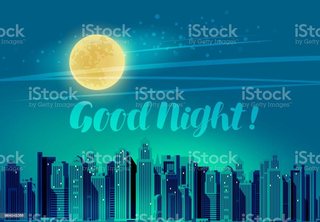 近代的な都市、パノラマ景観。おやすみ、レタリングのベクトル図 - イラストレーションのロイヤリティフリーベクトルアート