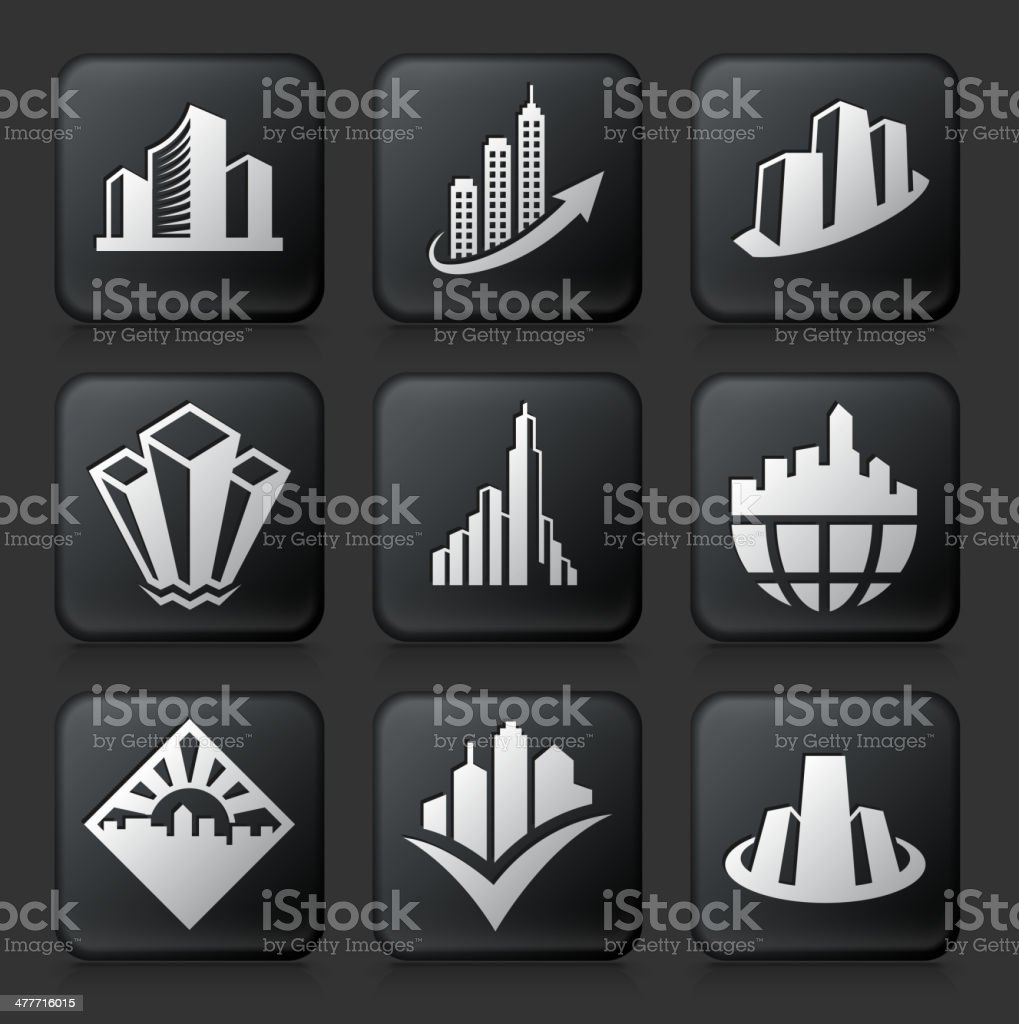 Modern City royalty free vector icon set on Black Button royalty-free modern city royalty free vector icon set on black button stock vector art & more images of architecture
