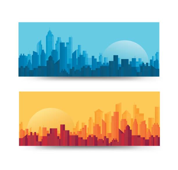 Modern City Skyline backgrounds vector illustration EPS10 Modern City Skyline backgrounds vector illustration EPS10 blue silhouettes stock illustrations