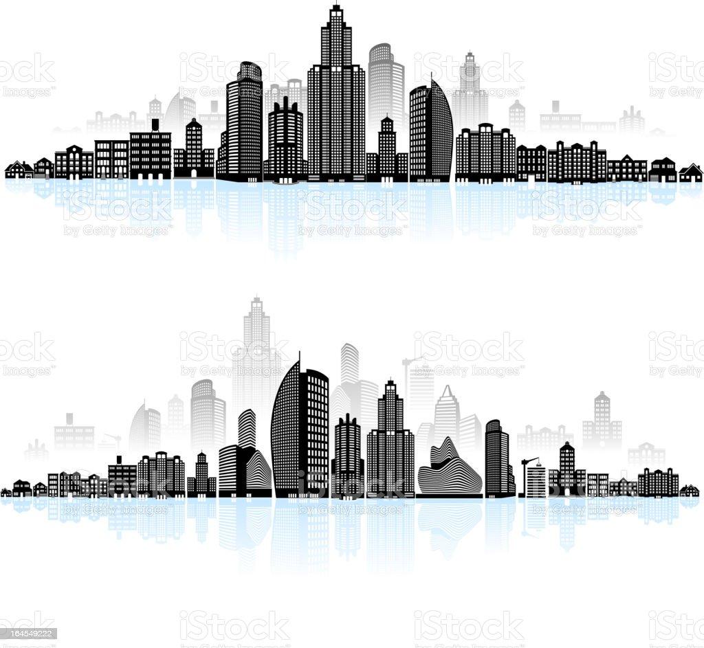 Modern city skyline panoramic royalty-free stock vector art