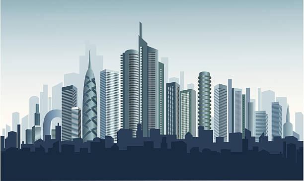 stockillustraties, clipart, cartoons en iconen met modern city. urban background. - twilight