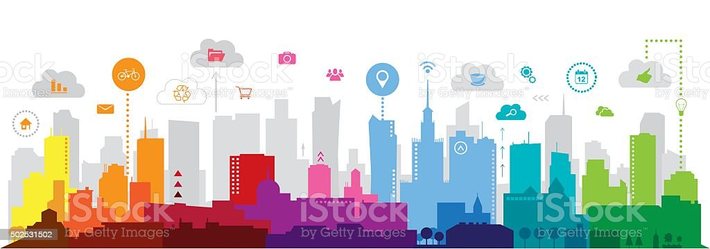 Modern city vector art illustration