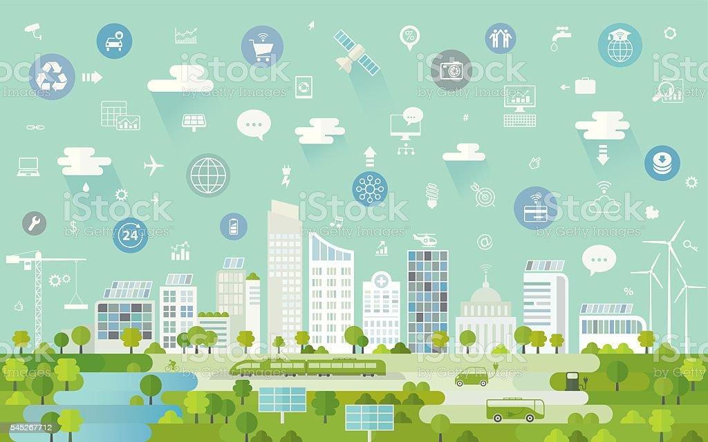 Modern City vector art illustration