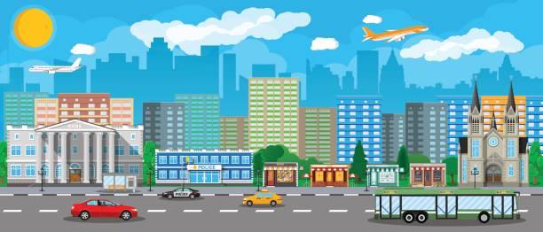illustrations, cliparts, dessins animés et icônes de vue sur la ville moderne. système de transport public - commissariat