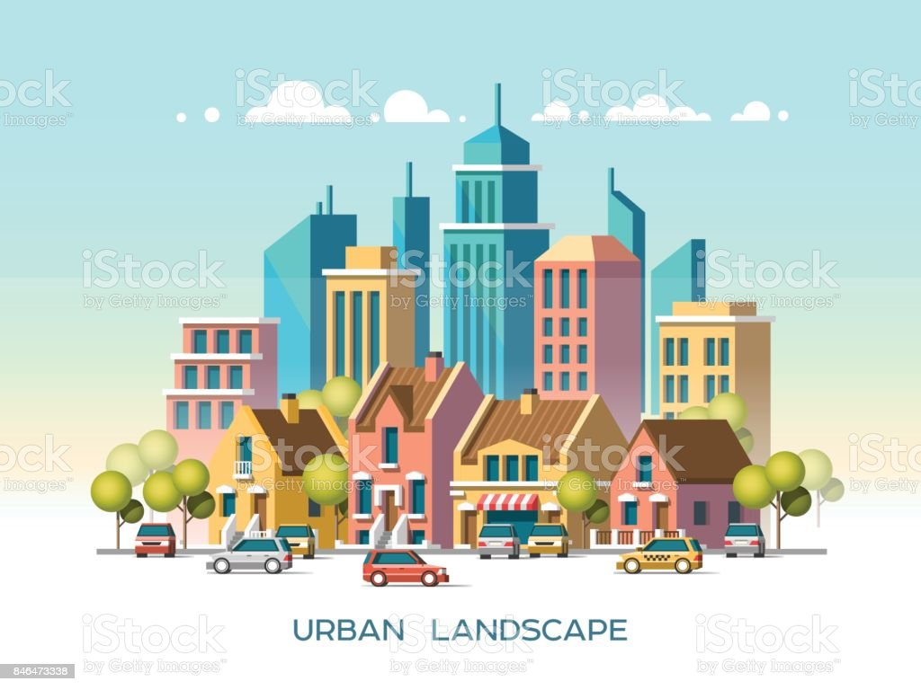 Modern city view. Traditional architecture landscape. Flat vector illustration. 3d style. vector art illustration