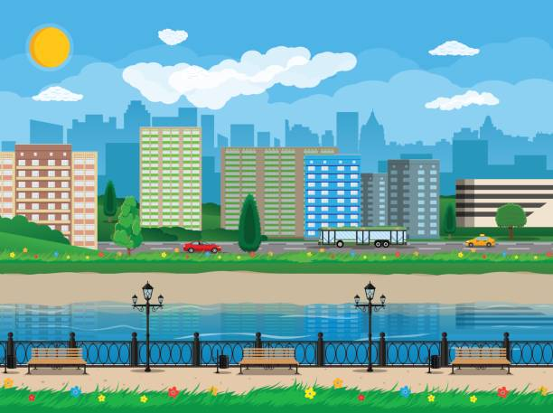 Modern city view. Waterfront, river, embankment City view. Cityscape. Bench, lamp. Residental buildings. Road, truck, cars. Public transportation system. Waterfront, river embankment Clouds sky and sun Vector illustration in flat style waterfront stock illustrations