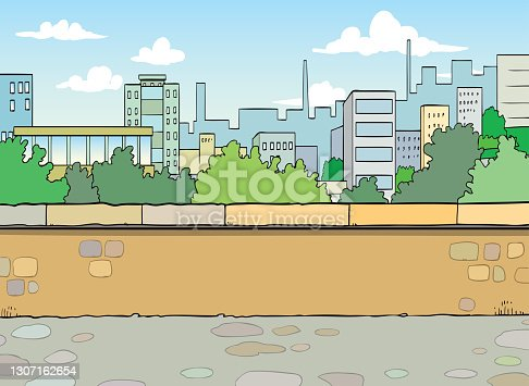 istock Modern city with skyscrapers and residential houses. Metropolis skyline. Urban scenery. 1307162654