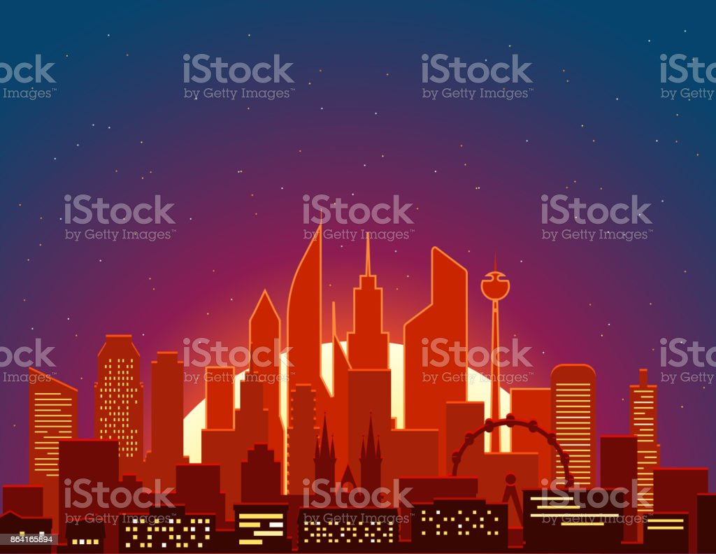 Modern cityscape in the morning vector illustartion. Big city scene royalty-free modern cityscape in the morning vector illustartion big city scene stock vector art & more images of architecture
