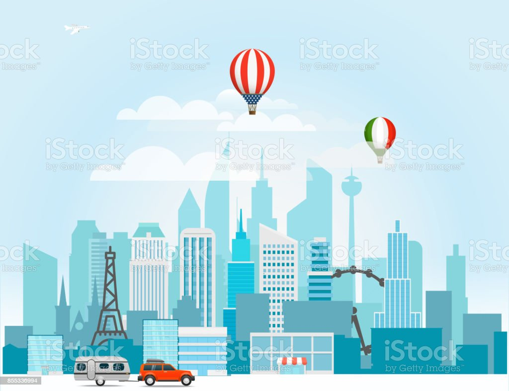 Modern cityscape in the morning vector illustartion vector art illustration