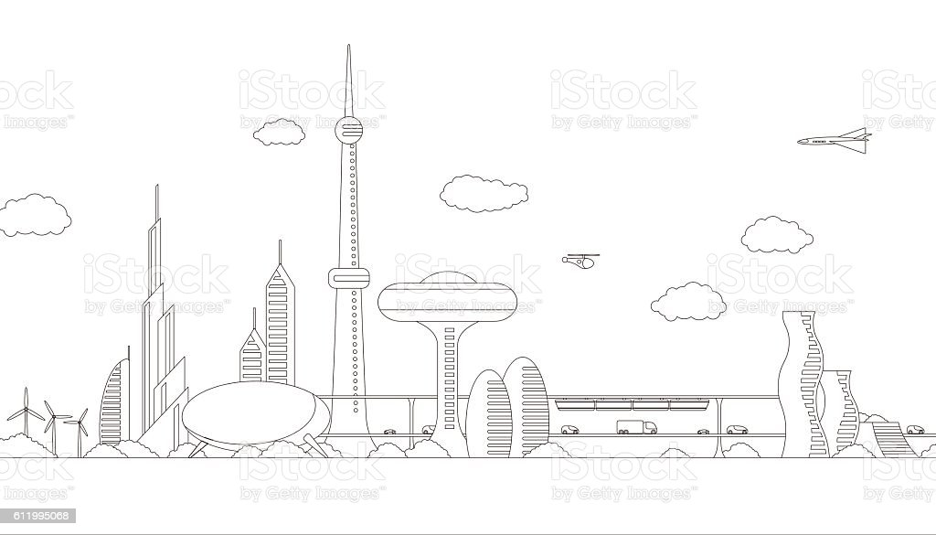 Modern Cityscape Panorama View Futuristic Buildings Stock Vektor Art