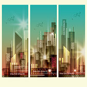 Night city scene background vertical banners vector