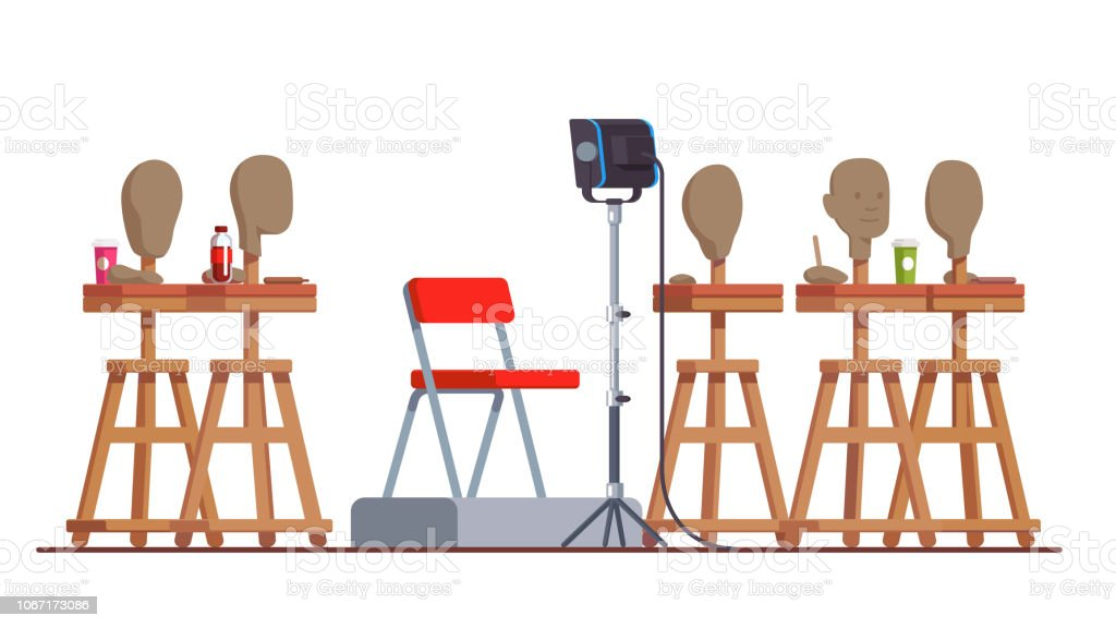 Modern clay sculpture modeling class in art studio interior with handmade head on stand & model podium with chair. Flat style isolated vector векторная иллюстрация