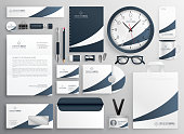 modern clean brand stationery template set