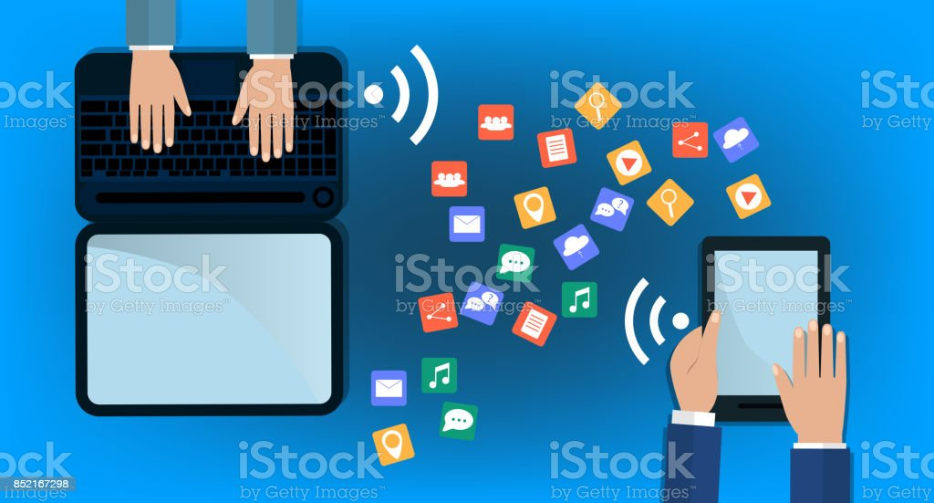 Modern Cloud Services and Cloud Computing Elements Concept. Flat Vector Illustration. Hands holds laptop and a tablet and share data on cloud. flat illustration. vector art illustration