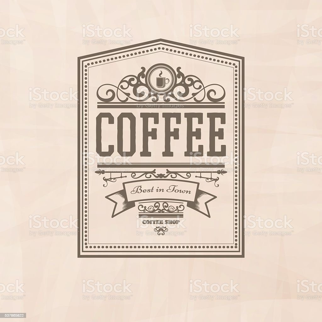 Modern Coffee Badge on the light background