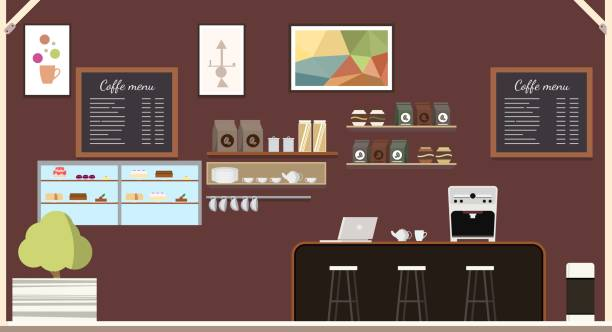 ilustrações de stock, clip art, desenhos animados e ícones de modern coffeehouse coffee shop interior design - coffe shop