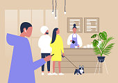 Modern coffeeshop scene, A line of characters waiting at the counter, lifestyle illustration