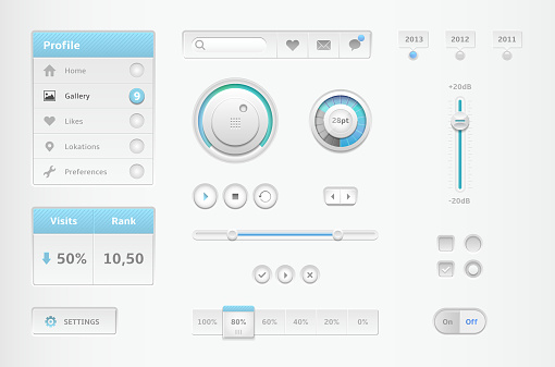 Modern collection of minimal and white web elements