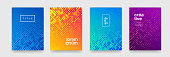 Modern color gradient background patterns, abstract geometric shape graphic design. Vector flat halftone blue and orange color pattern backgrounds and poster title covers