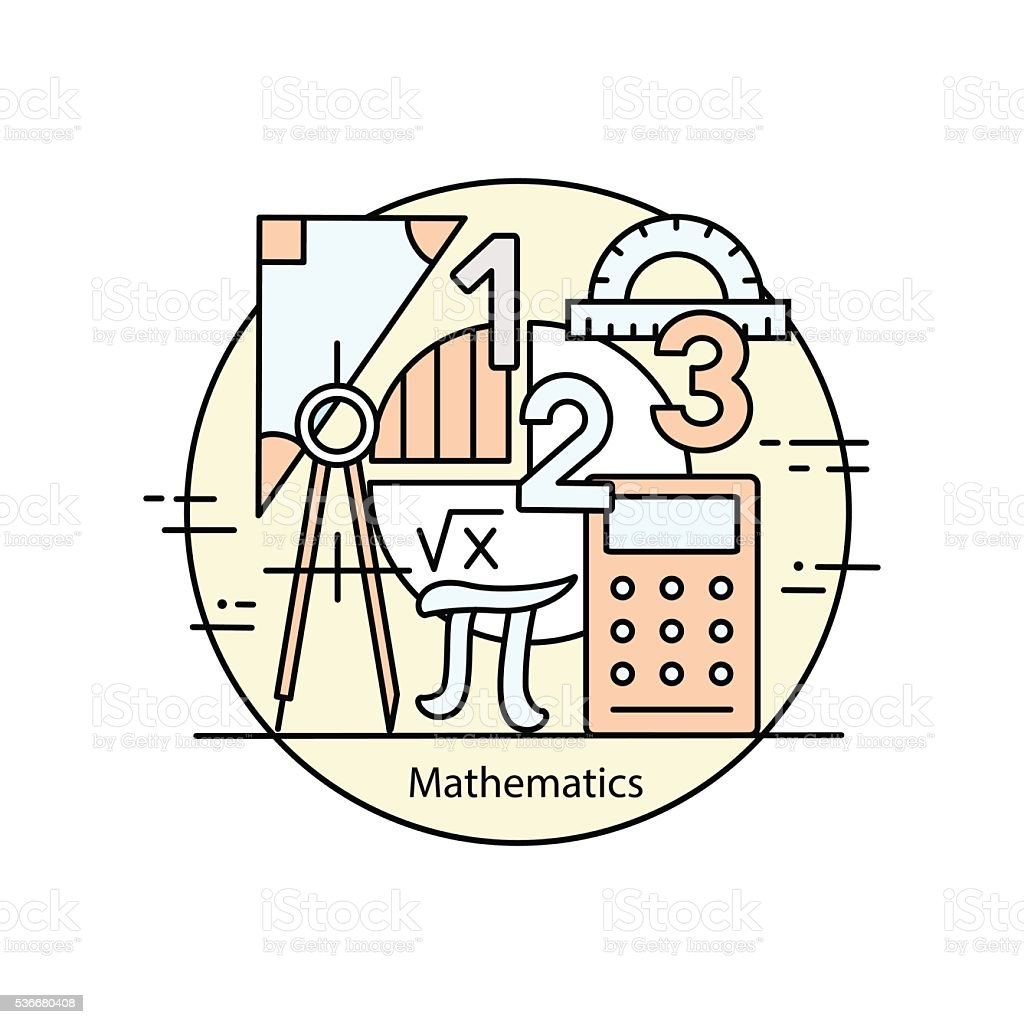 Line Art Math : Modern color thin line concept of mathematics stock vector