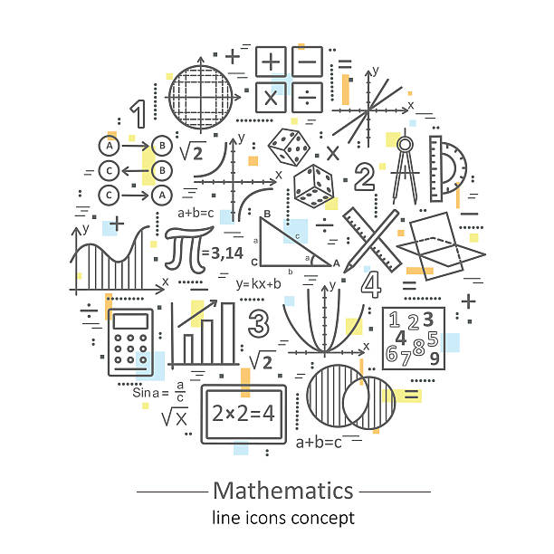 Modern color thin line concept of mathematics. Modern color thin line concept of mathematics for school, university and training. Vector illustration with different elements on the subject mathematics. Logo Concepts for Trendy Designs. mathematical symbol stock illustrations