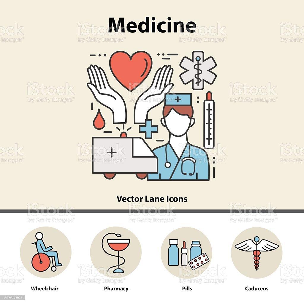 Modern color thin line concept of medicine and health symbols. vector art illustration