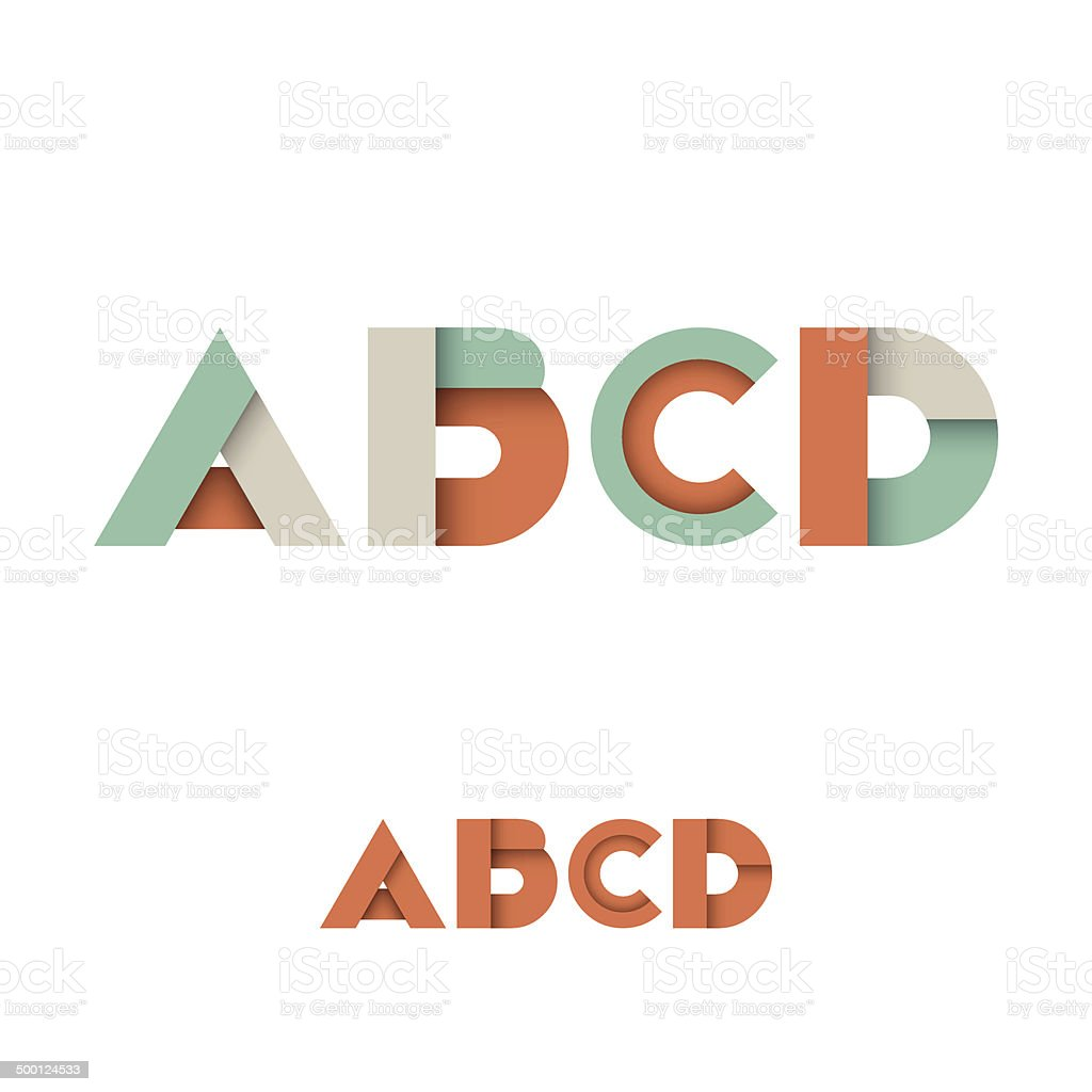 B C D A Modern Colored Layered Font or Alphabet royalty-free stock vector art
