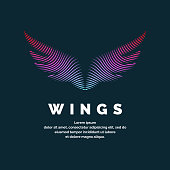 Modern colored logo wings. Vector illustration on a dark background for advertising