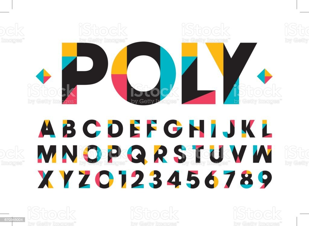 Modern renkli alfabesi vektör sanat illüstrasyonu