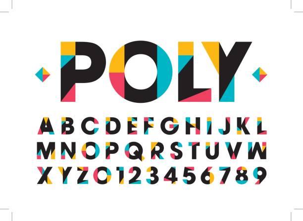 Modern colorful alphabet vector art illustration