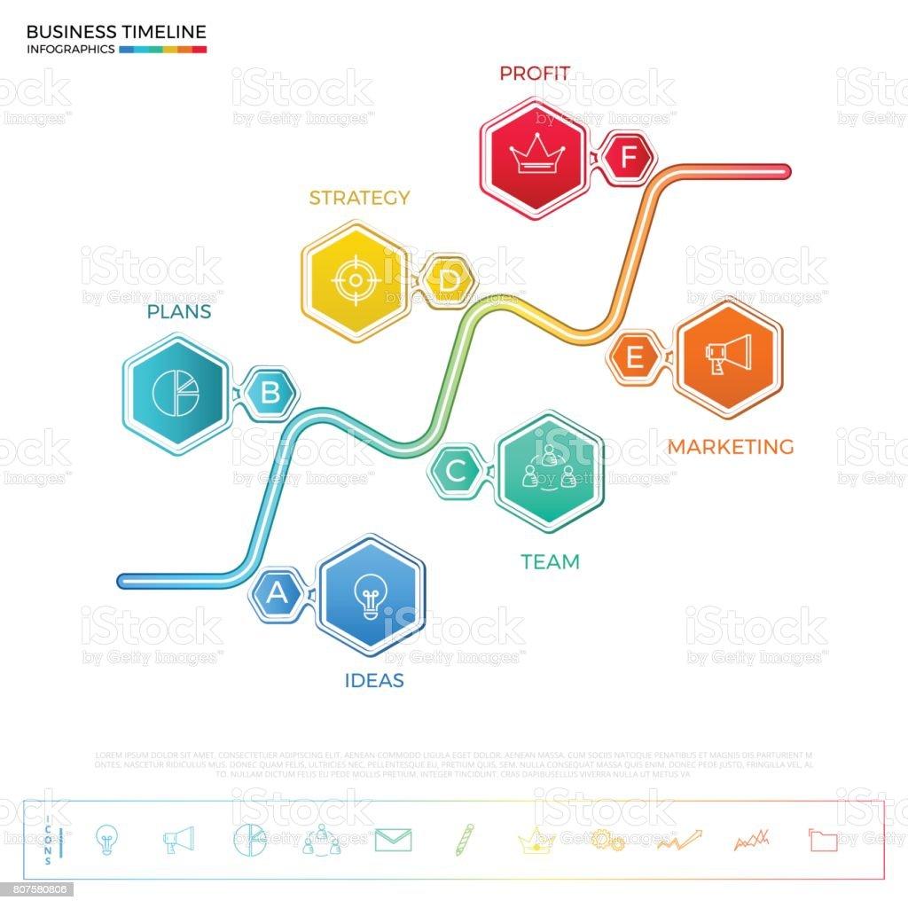 近代的なカラフルなビジネス タイムライン六角インフォ グラフィック