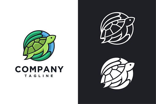 modern colorful Coral vector, turtle icon vector illustration template