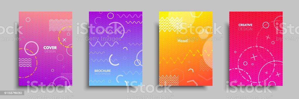 Modern colorful covers with multi-colored geometric shapes and objects. Abstract design template for brochures, flyers, banners, headers, book covers, notebooks