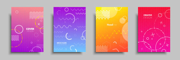 modern colorful covers with multi-colored geometric shapes and objects. abstract design template for brochures, flyers, banners, headers, book covers, notebooks - book backgrounds stock illustrations