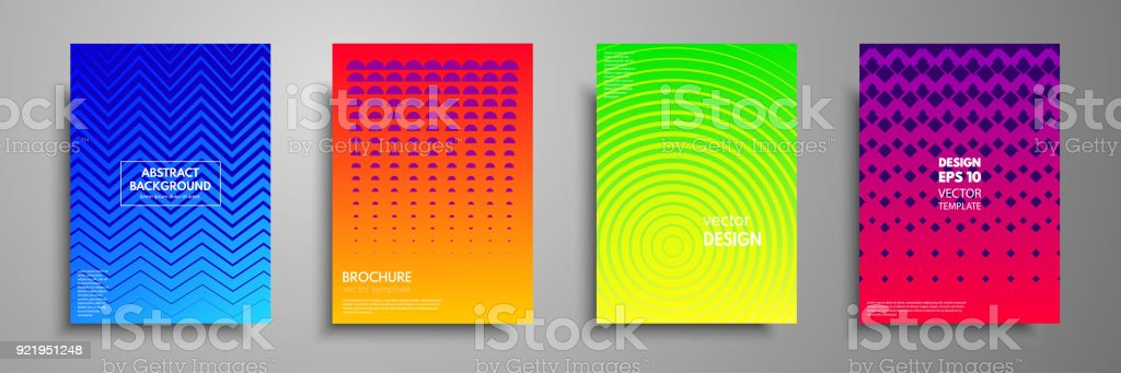 Modern Colorful Covers With Multicolored Geometric Shapes And ...
