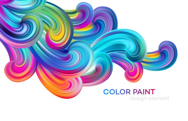 ilustrações, clipart, desenhos animados e ícones de poster colorido moderno do fluxo. onda de tinta de cor forma líquida. projeto da arte para seu projeto de projeto. ilustração do vetor - descrição de cor