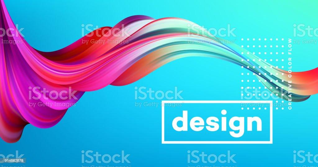 Affiche de flux colorés modernes. Forme vague liquide dans le fond de couleur bleu. Conception de l'art pour votre projet de conception. Illustration vectorielle - Illustration vectorielle