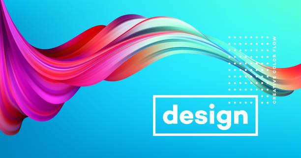 Modernen bunten Flow Plakat. Wave flüssiger Form im Hintergrund mit blauer Farbe. Kunstdesign für Ihre Design-Projekt. Vektor-illustration – Vektorgrafik