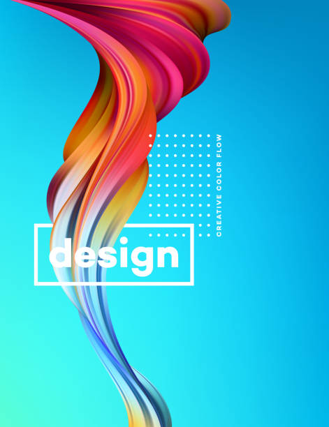 modernen bunten flow plakat. wave flüssiger form im hintergrund mit blauer farbe. kunstdesign für ihre design-projekt. vektor-illustration - kunstaktivitäten stock-grafiken, -clipart, -cartoons und -symbole