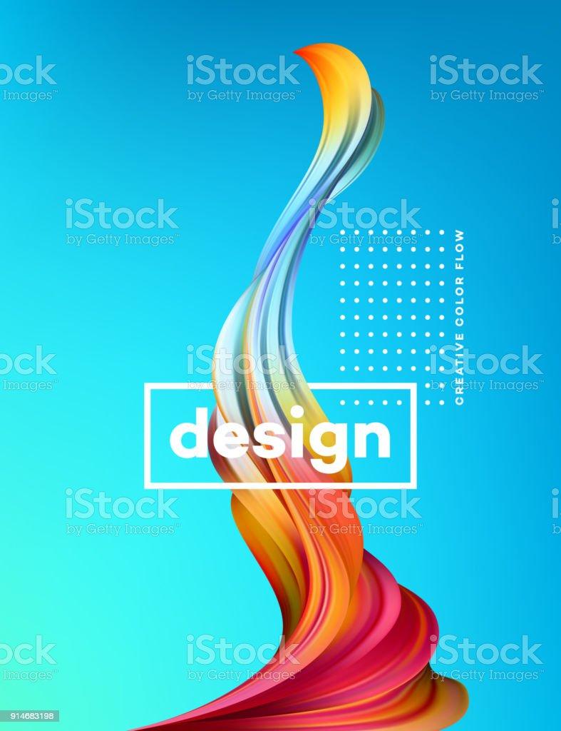 555c6d0ba9feb Cartel de flujo colorido moderno. Forma de la onda líquida en fondo de color  azul