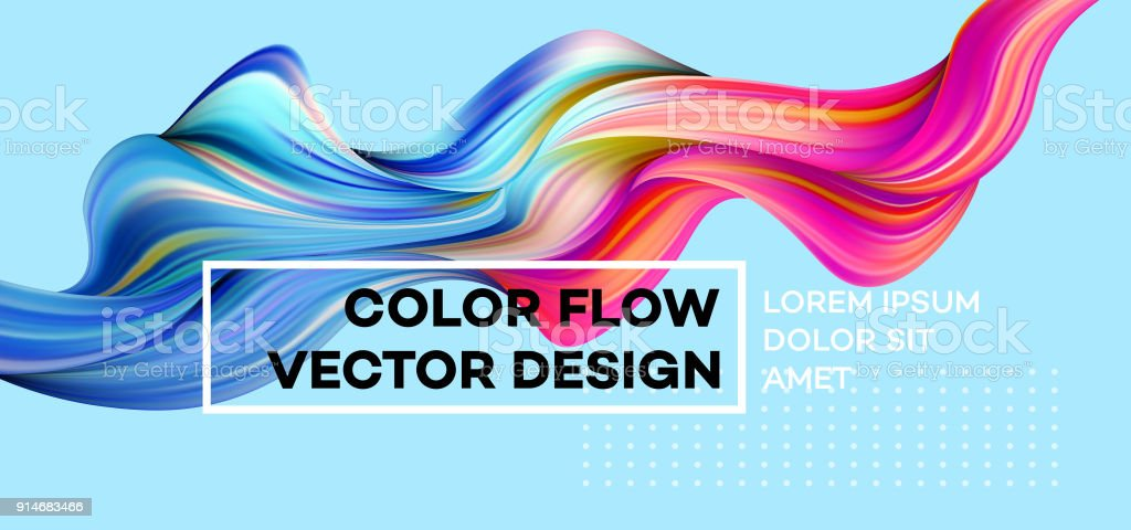 modern colorful flow poster wave liquid shape in blue color background art design for