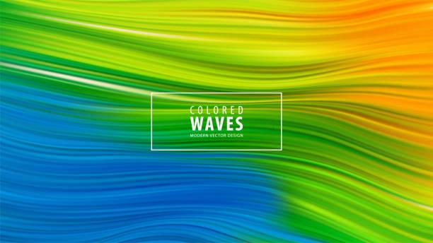 Modernes buntes Fließplakat. Welle Liquid Form in blauer Farbe Hintergrund. Kunstdesign. Vektorillustration EPS10 – Vektorgrafik