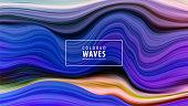 Modern colorful flow poster. Wave Liquid shape in blue color background. Art design. Vector illustration EPS10