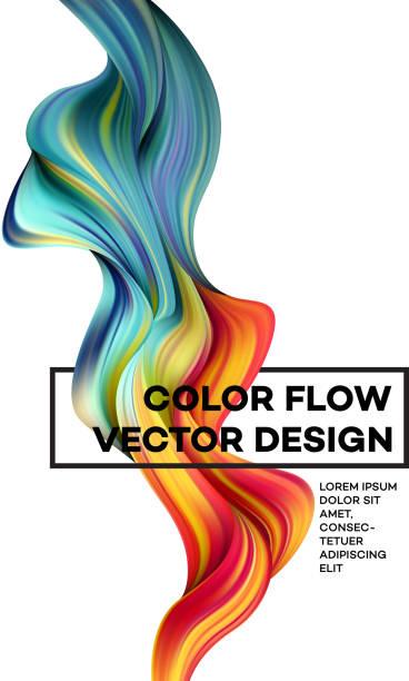modernen bunten flow plakat. welle flüssigen form in weißer farbe hintergrund. kunstdesign für ihre design-projekt. vektor-illustration - kunstaktivitäten stock-grafiken, -clipart, -cartoons und -symbole