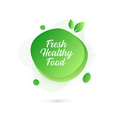 Modern Colorful Fluid Liquid Abstract Design - Fresh Healthy Food Badge
