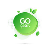 Modern Colorful Fluid Liquid Abstract Design - Go Green Badge
