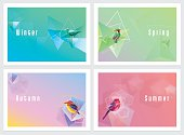 Modern colorful four seasons wallpapers with geometric shapes and birds